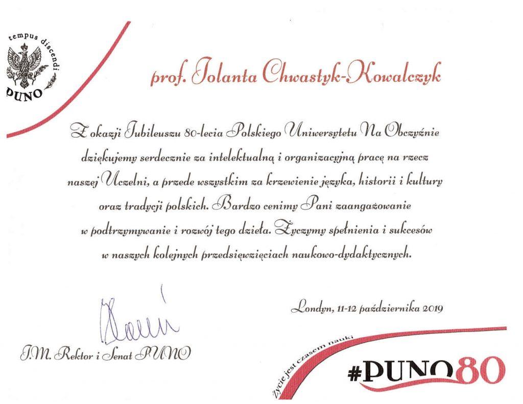 certyfikat-1024x791 Diament PUNO dla prof. Jolanty Chwastyk-Kowalczyk